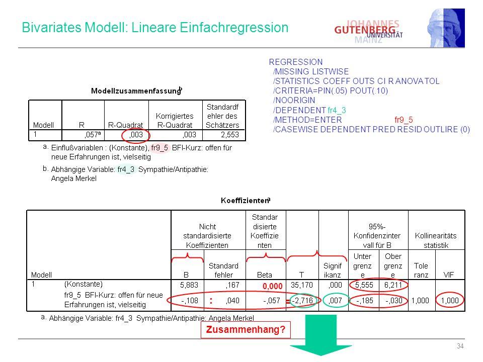 Bivariates Modell: Lineare Einfachregression