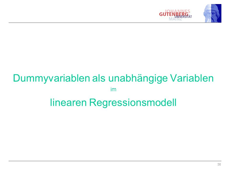 Dummyvariablen als unabhängige Variablen linearen Regressionsmodell