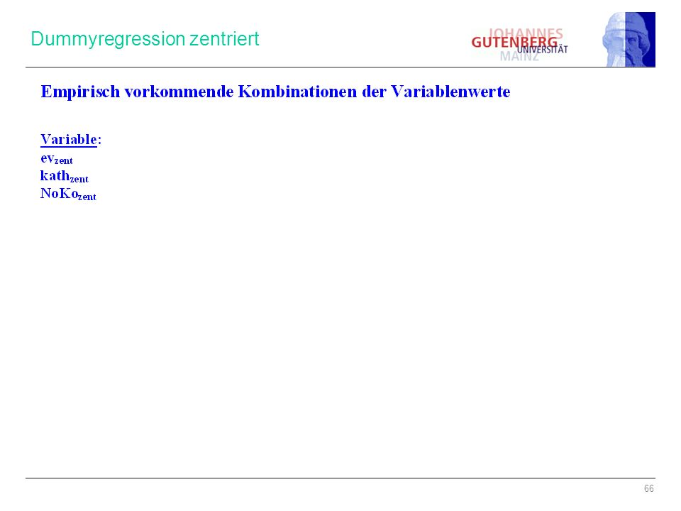 Dummyregression zentriert