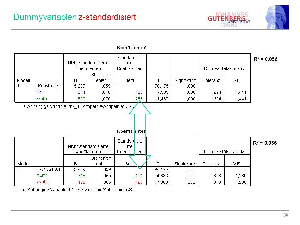 Dummyvariablen z-standardisiert