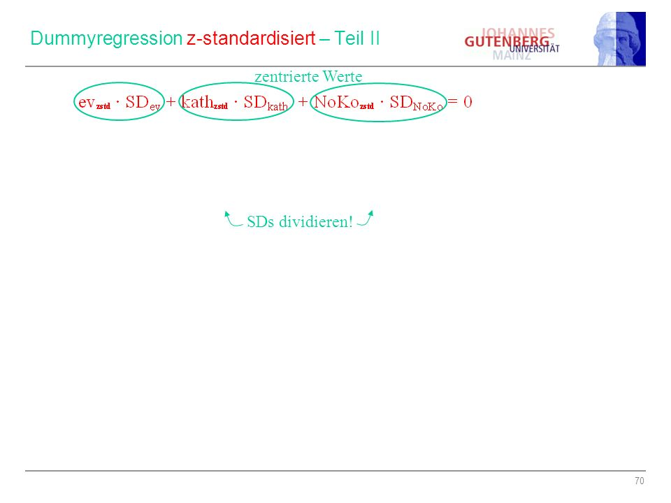 Dummyregression z-standardisiert – Teil II