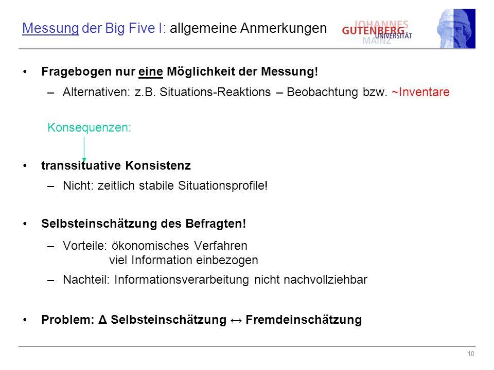 Messung der Big Five I: allgemeine Anmerkungen