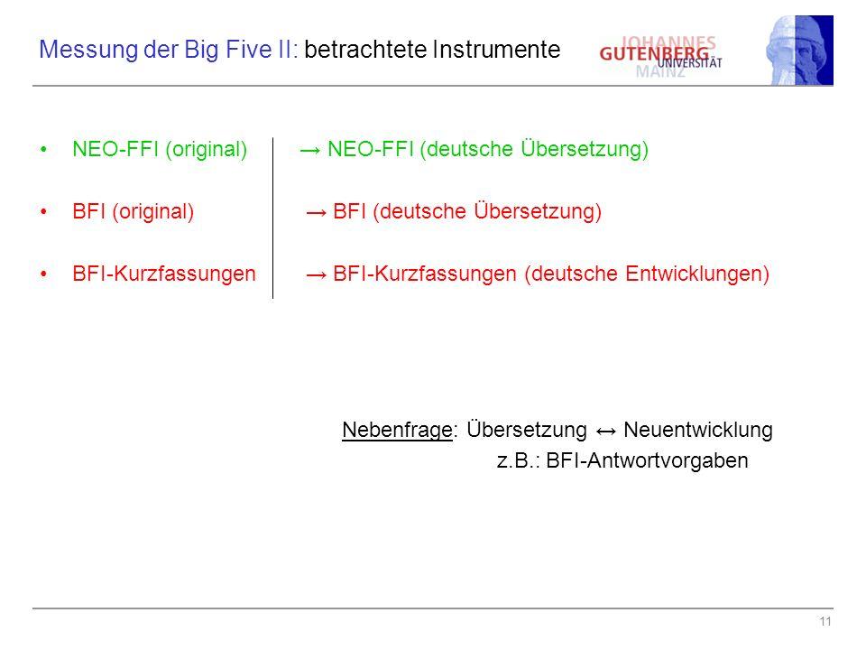 Messung der Big Five II: betrachtete Instrumente