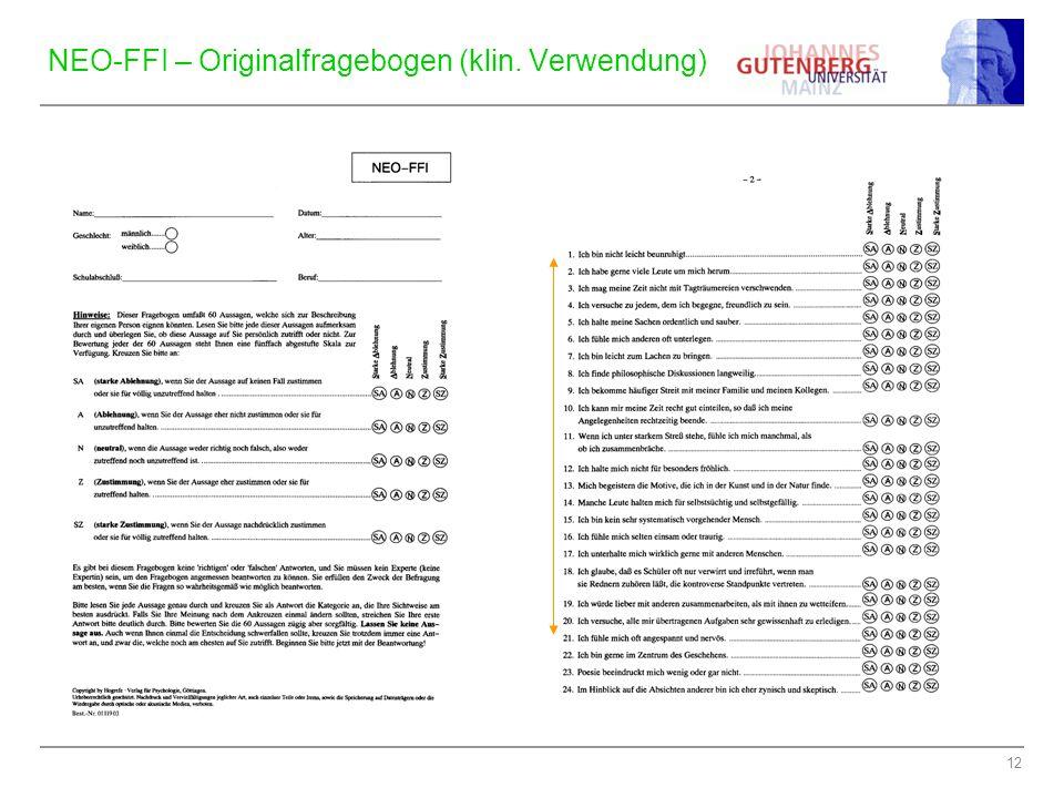 NEO-FFI – Originalfragebogen (klin. Verwendung)