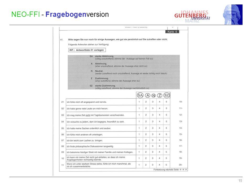 NEO-FFI - Fragebogenversion