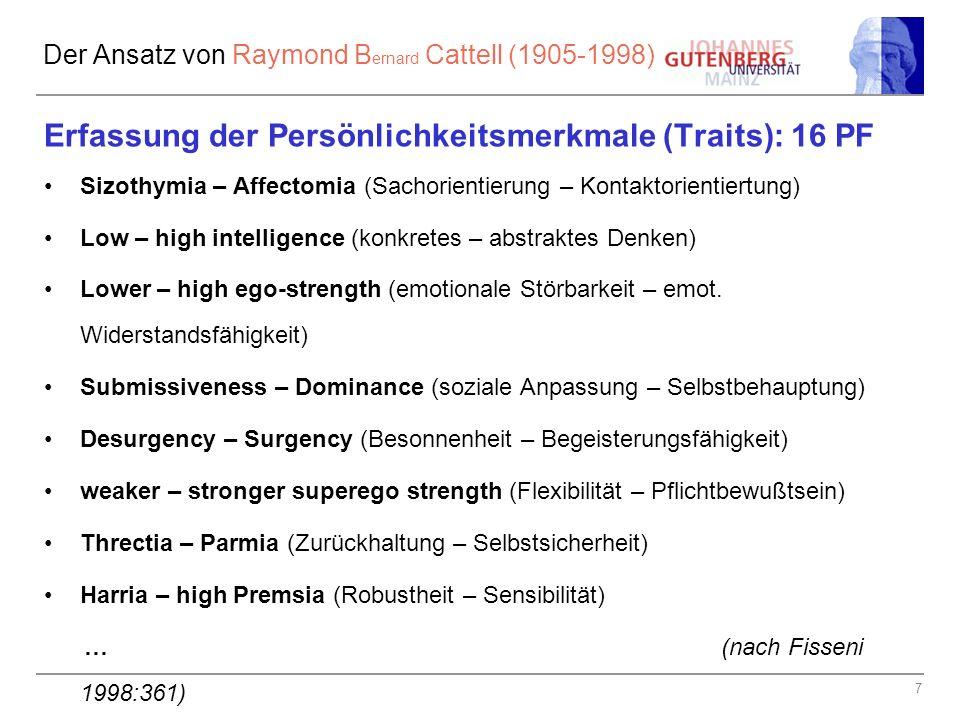 Der Ansatz von Raymond Bernard Cattell (1905-1998)