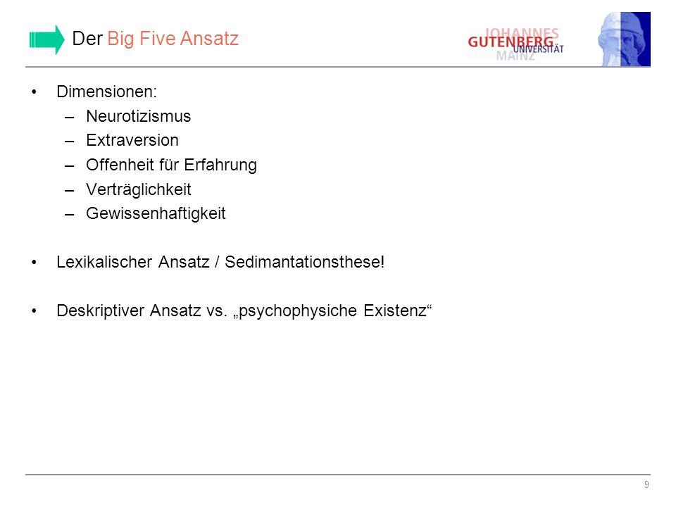 Der Big Five Ansatz Dimensionen: Neurotizismus Extraversion