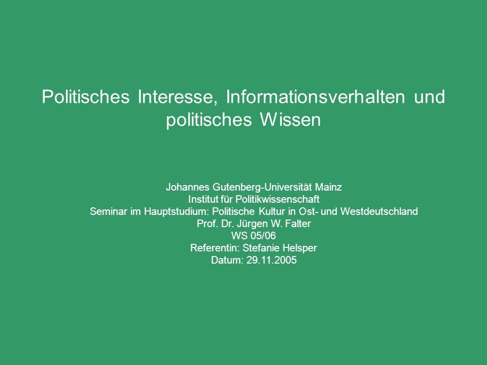 Politisches Interesse, Informationsverhalten und politisches Wissen