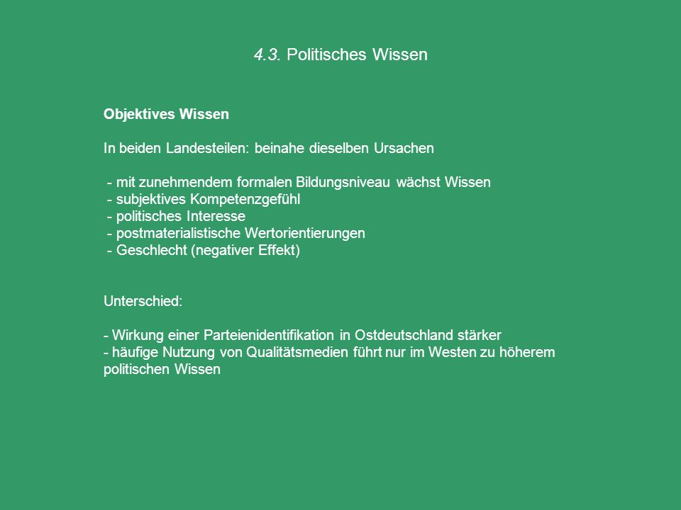 4.3. Politisches Wissen Objektives Wissen