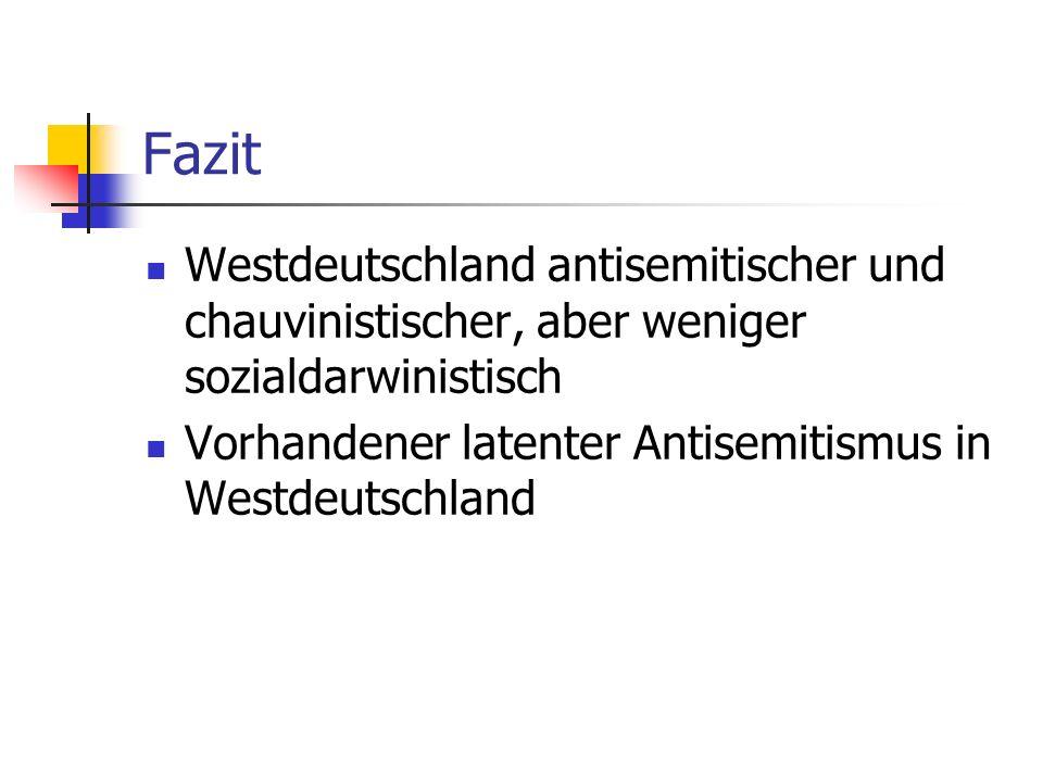Fazit Westdeutschland antisemitischer und chauvinistischer, aber weniger sozialdarwinistisch.