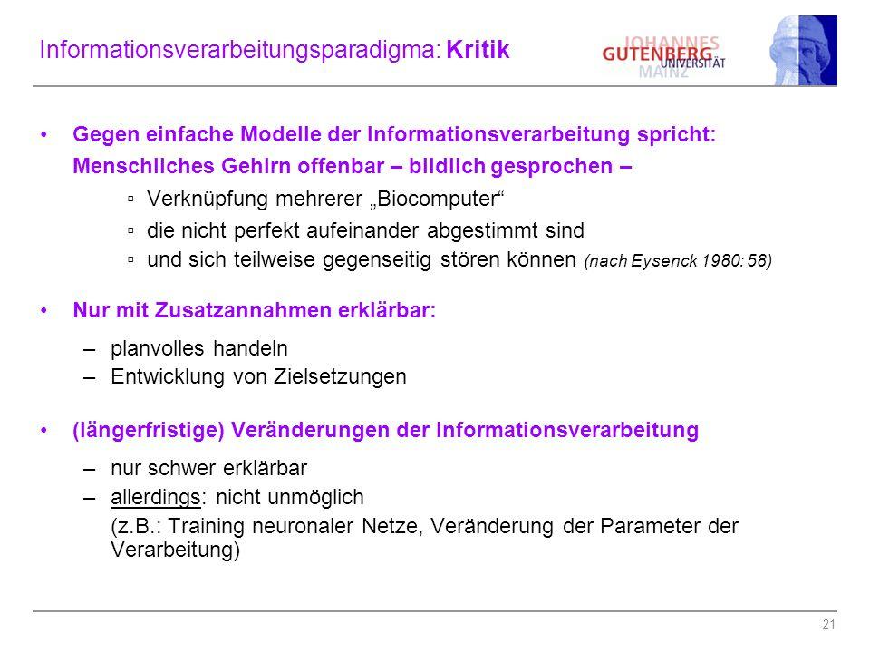 Informationsverarbeitungsparadigma: Kritik