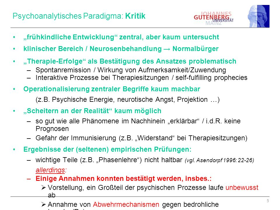 Psychoanalytisches Paradigma: Kritik