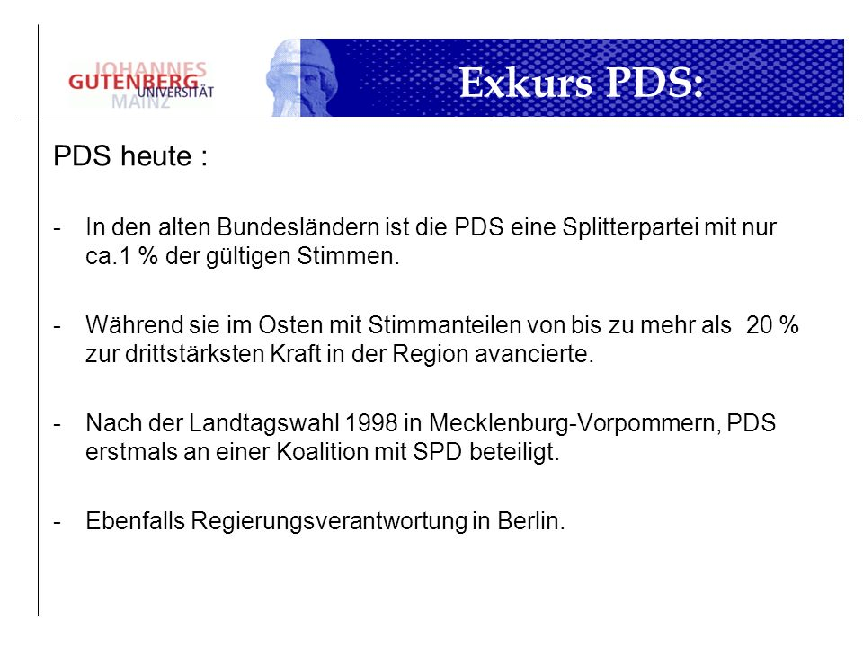 Exkurs PDS:PDS heute : In den alten Bundesländern ist die PDS eine Splitterpartei mit nur ca.1 % der gültigen Stimmen.