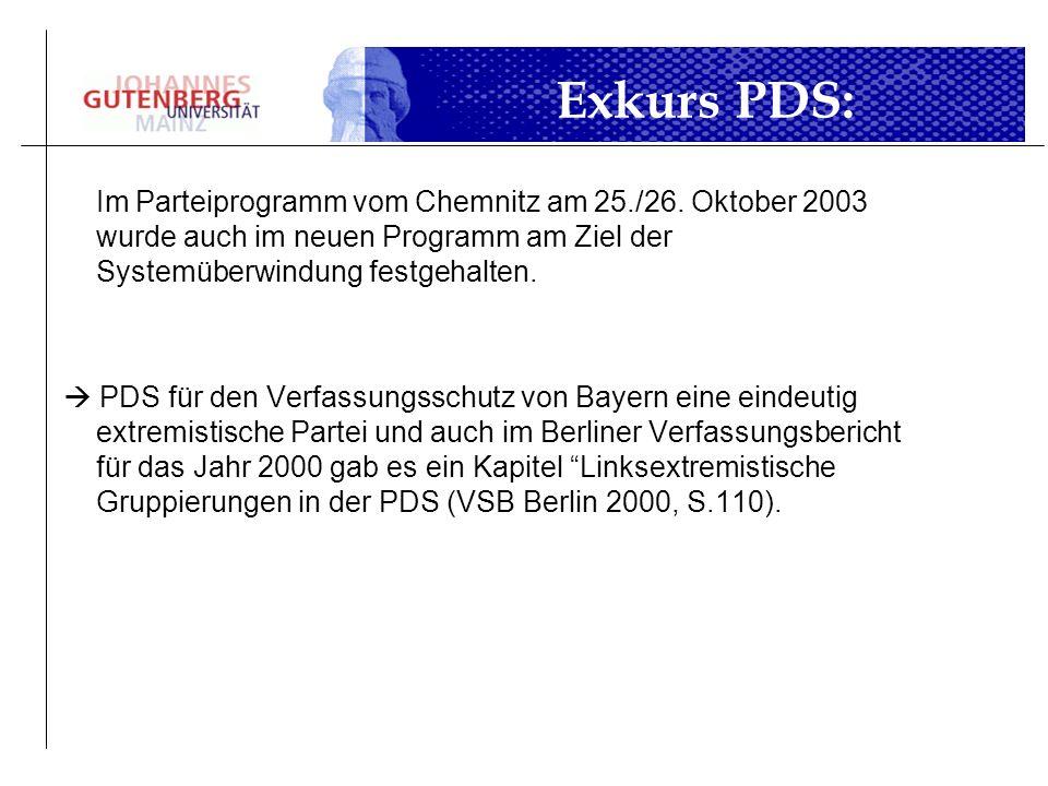 Exkurs PDS:Im Parteiprogramm vom Chemnitz am 25./26. Oktober 2003 wurde auch im neuen Programm am Ziel der Systemüberwindung festgehalten.
