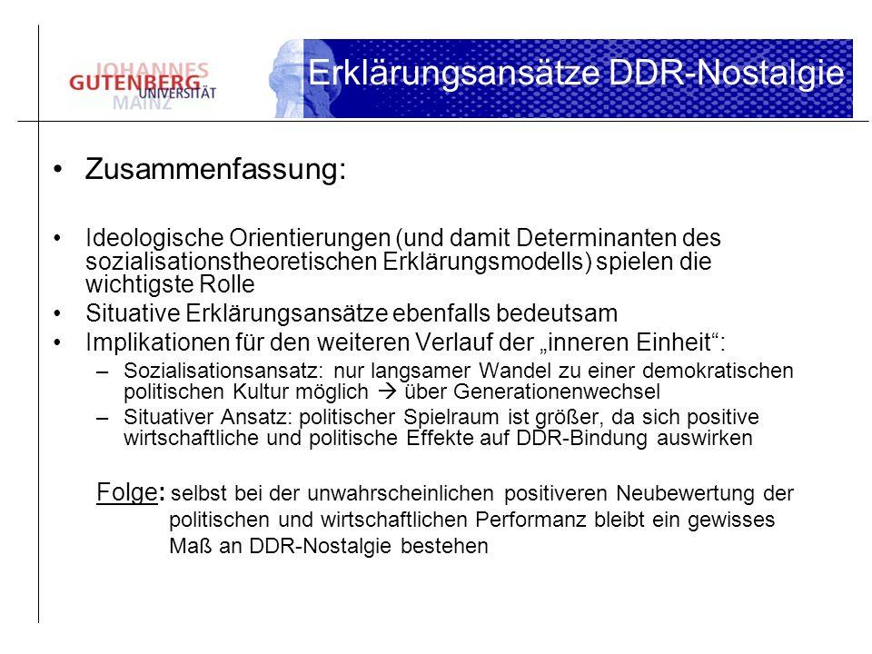 Erklärungsansätze DDR-Nostalgie