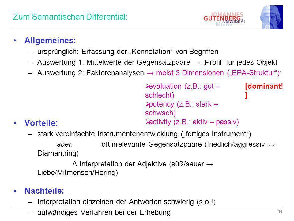 Zum Semantischen Differential: