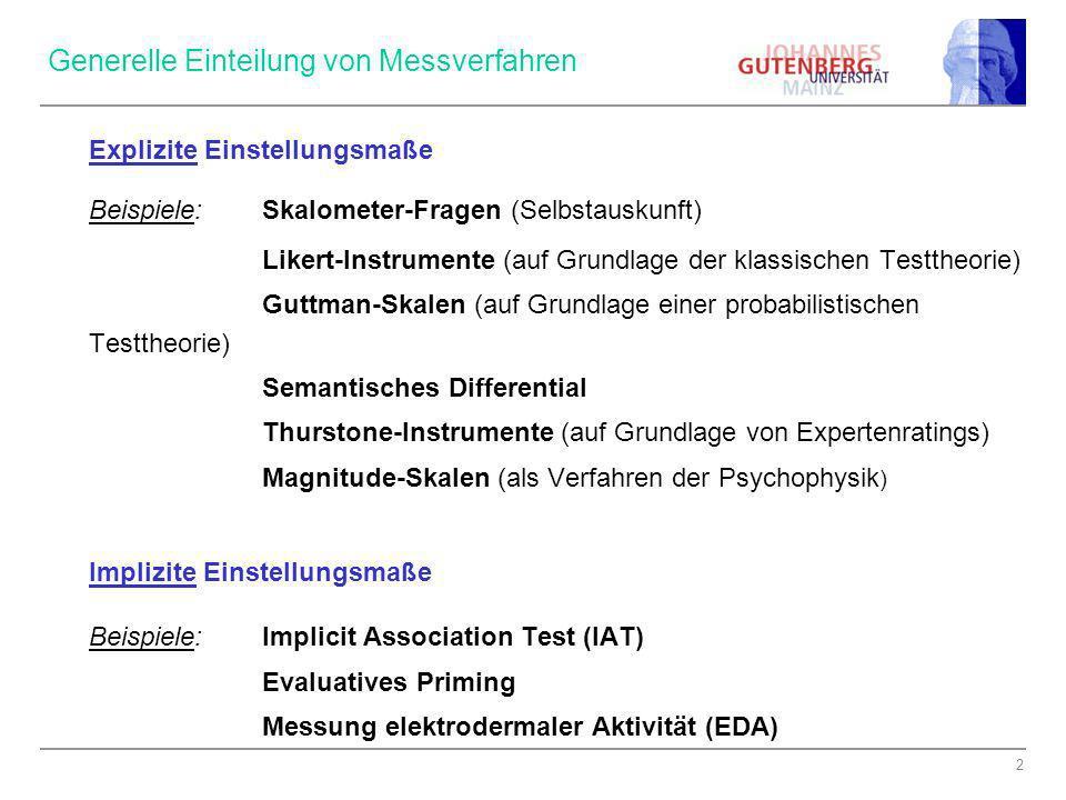 Generelle Einteilung von Messverfahren