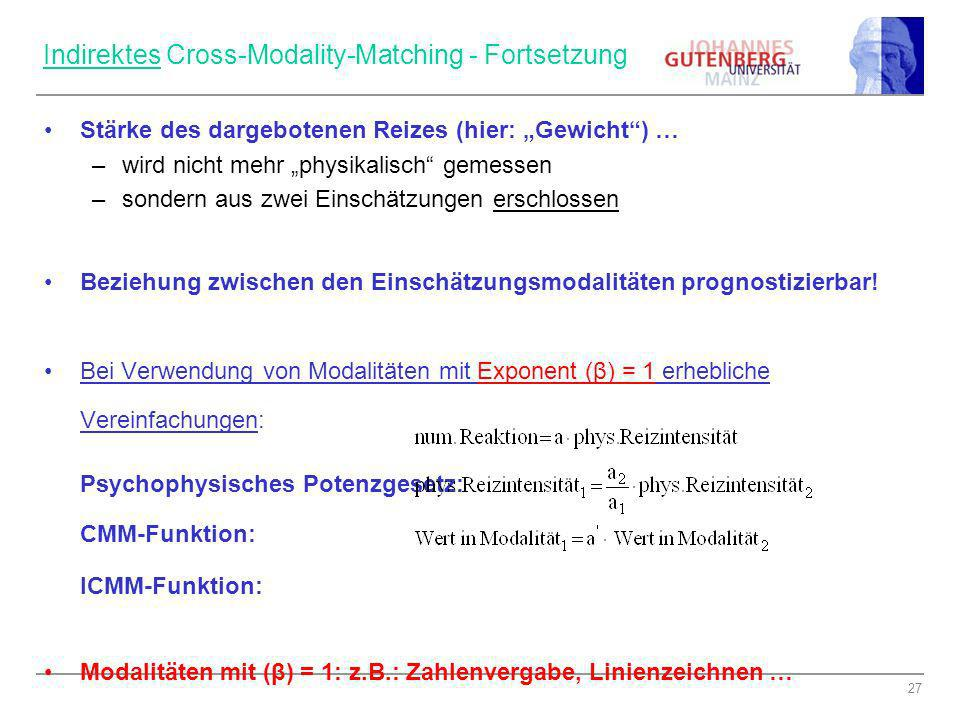 Indirektes Cross-Modality-Matching - Fortsetzung