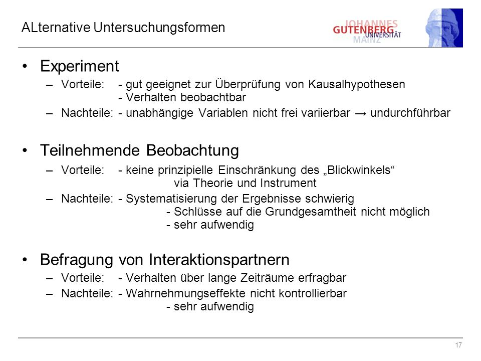 ALternative Untersuchungsformen