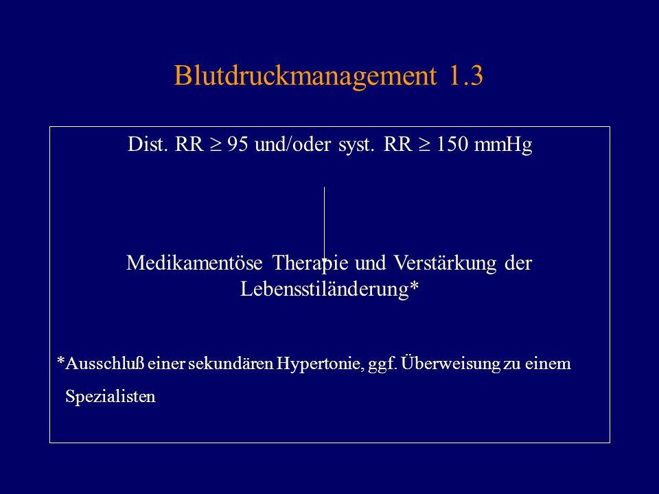 Blutdruckmanagement 1.3 Dist. RR  95 und/oder syst. RR  150 mmHg