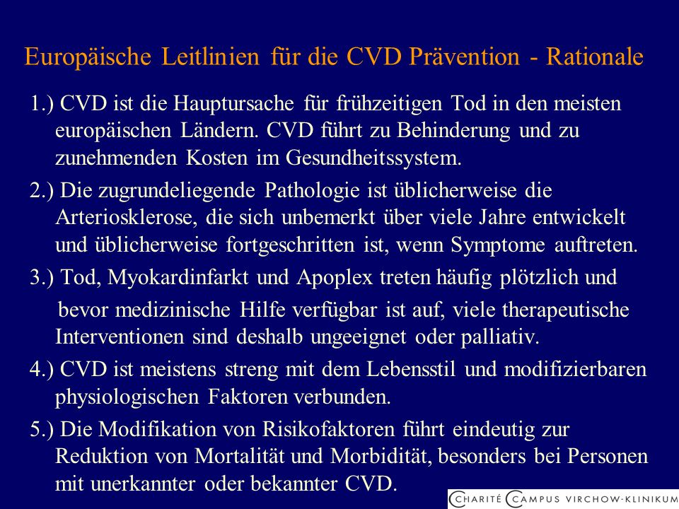 Europäische Leitlinien für die CVD Prävention - Rationale