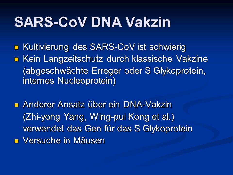 SARS-CoV DNA Vakzin Kultivierung des SARS-CoV ist schwierig