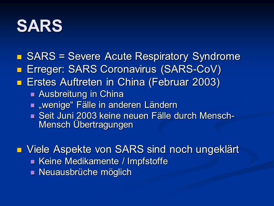 SARS SARS = Severe Acute Respiratory Syndrome