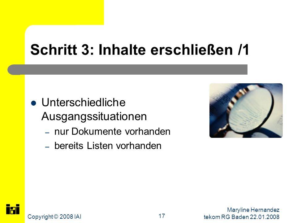 Schritt 3: Inhalte erschließen /1