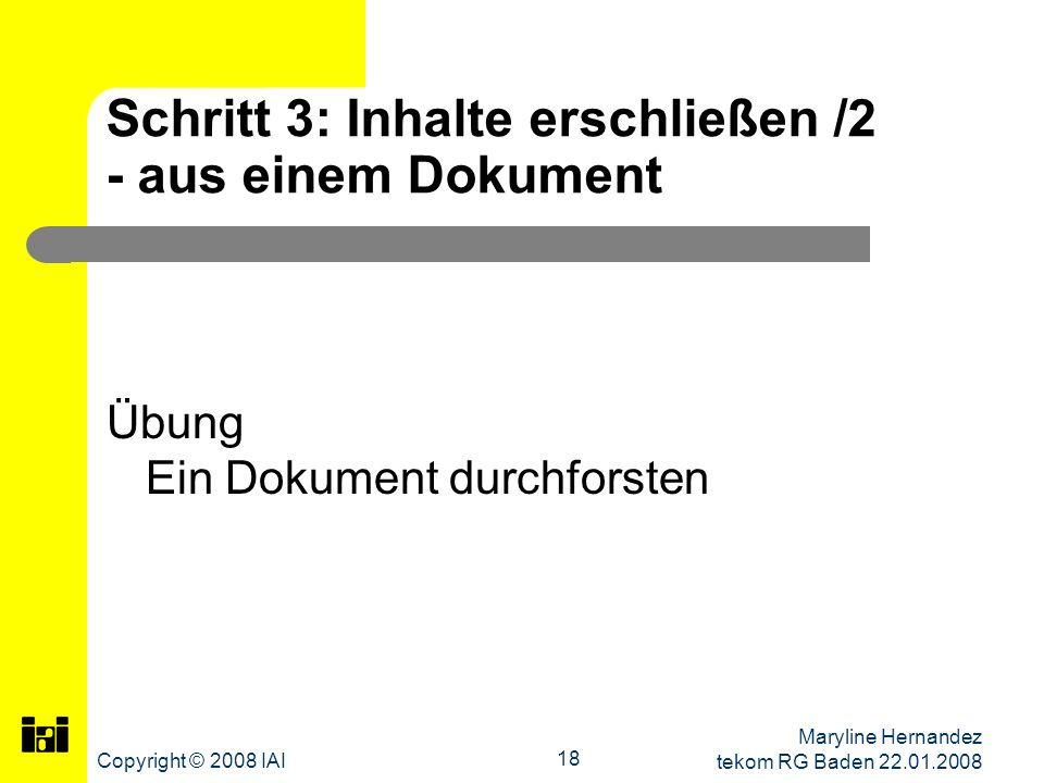 Schritt 3: Inhalte erschließen /2 - aus einem Dokument