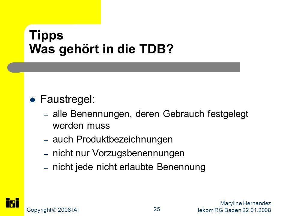 Tipps Was gehört in die TDB