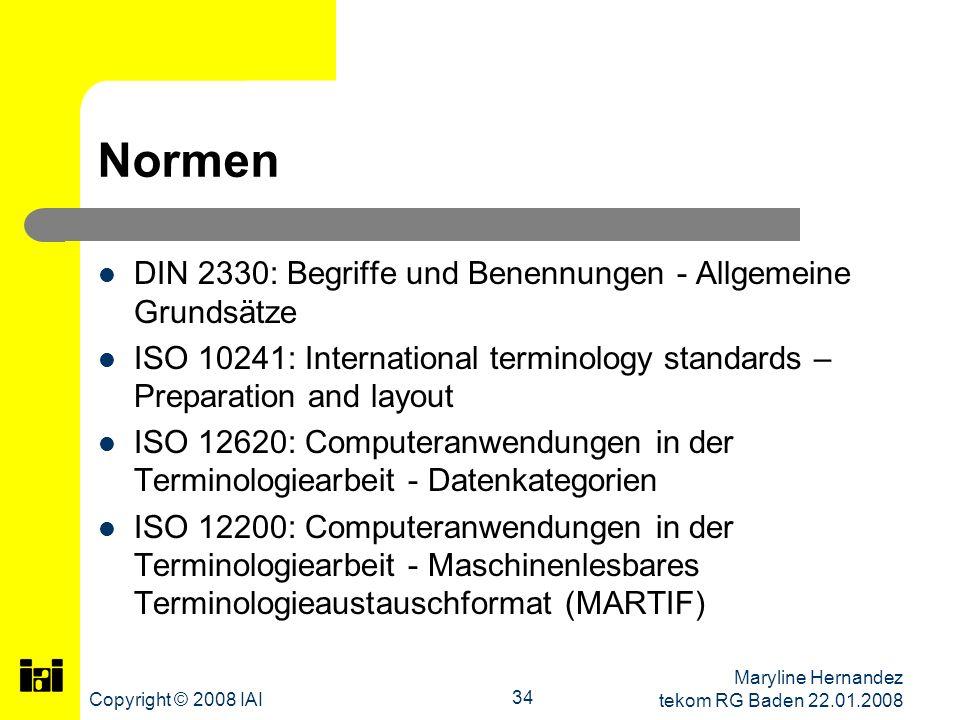 Normen DIN 2330: Begriffe und Benennungen - Allgemeine Grundsätze