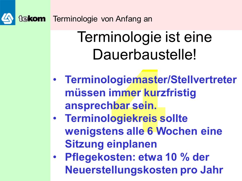 Terminologie ist eine Dauerbaustelle!