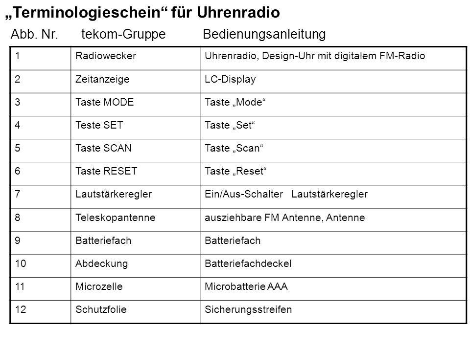 """""""Terminologieschein für Uhrenradio"""