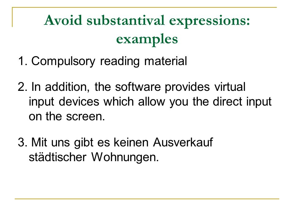 Avoid substantival expressions: examples