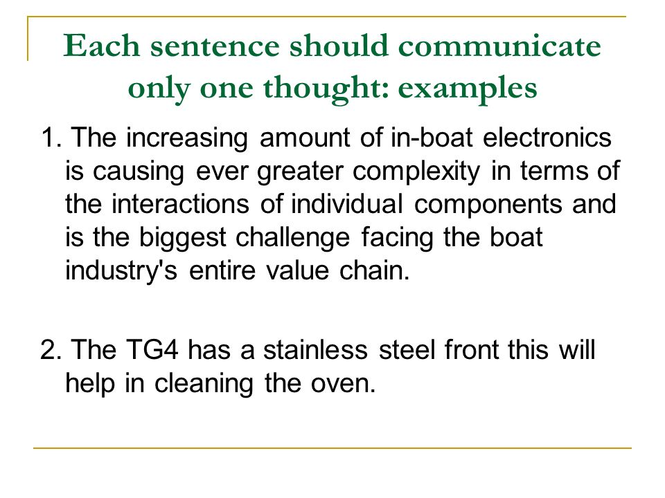 Each sentence should communicate only one thought: examples
