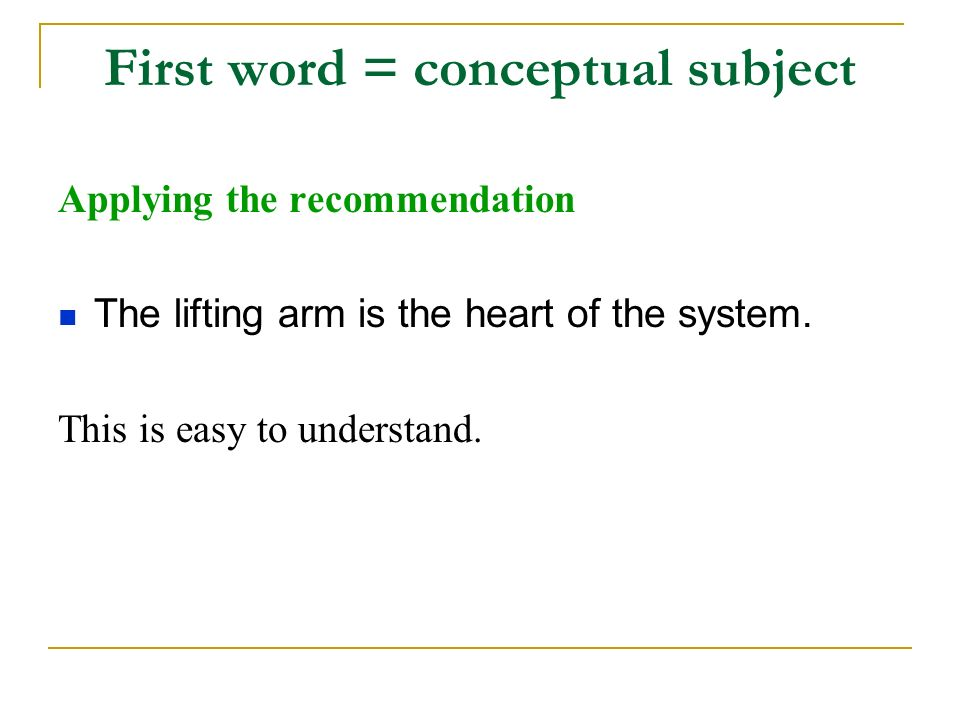 First word = conceptual subject