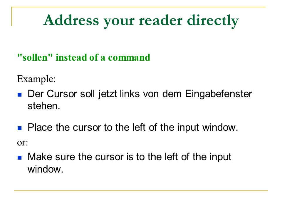 Address your reader directly