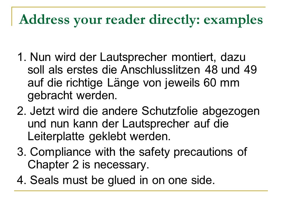 Address your reader directly: examples