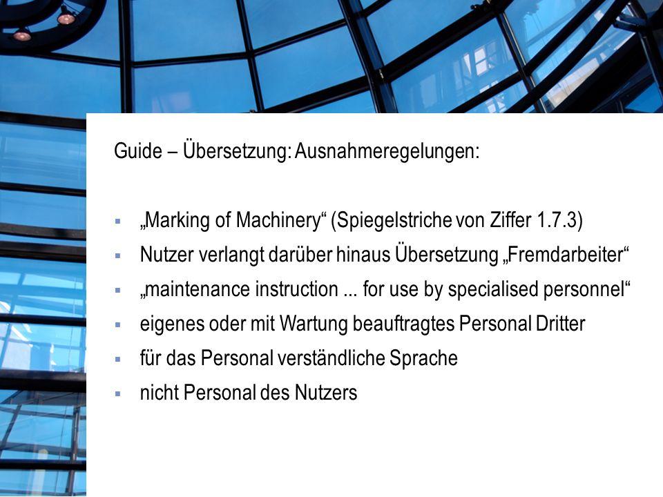 Guide – Übersetzung: Ausnahmeregelungen: