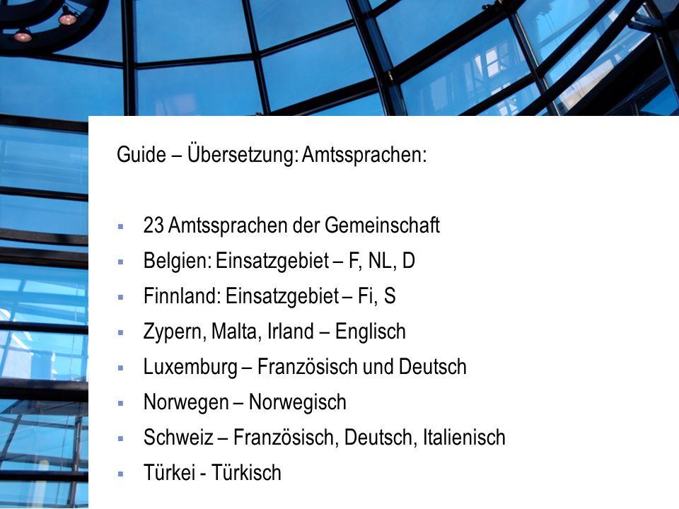 Guide – Übersetzung: Amtssprachen: