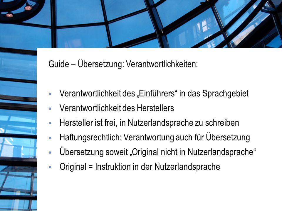 Guide – Übersetzung: Verantwortlichkeiten: