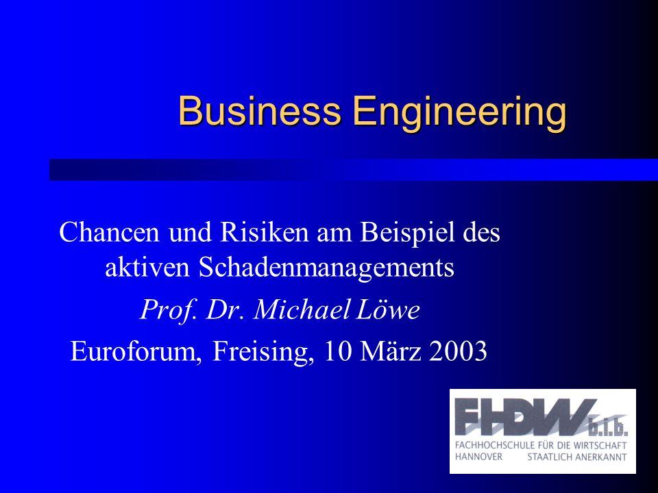 Business Engineering Chancen und Risiken am Beispiel des aktiven Schadenmanagements. Prof. Dr. Michael Löwe.