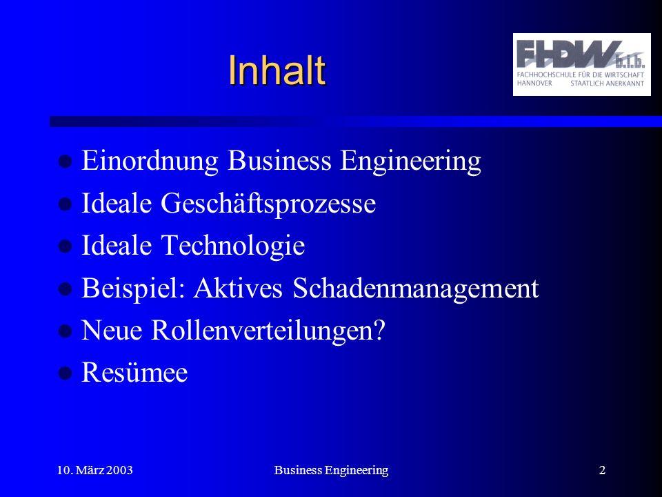Inhalt Einordnung Business Engineering Ideale Geschäftsprozesse