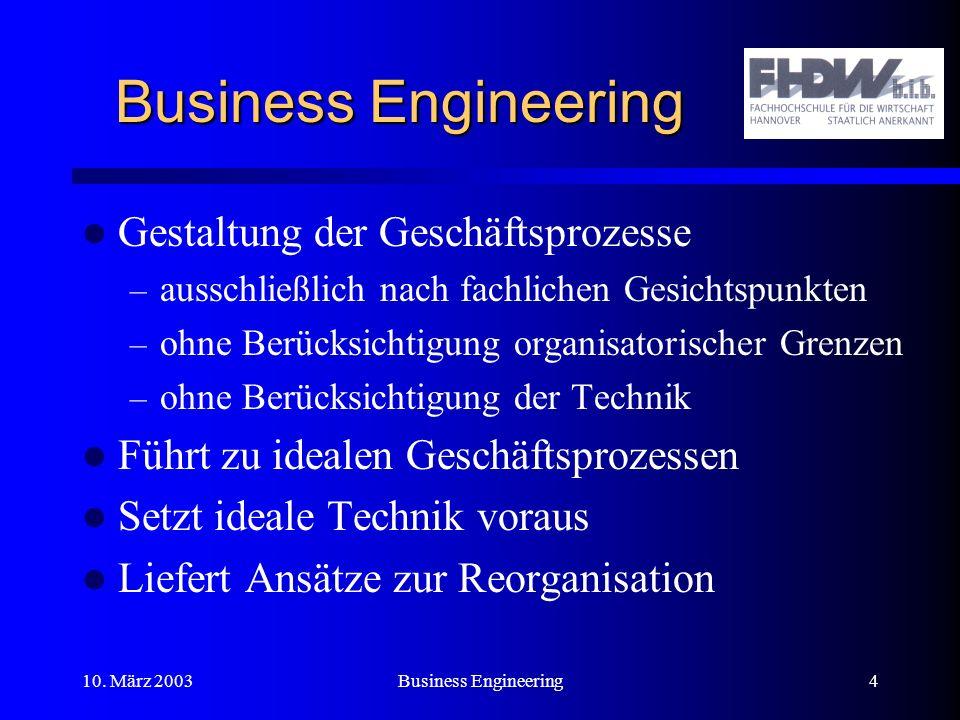 Business Engineering Gestaltung der Geschäftsprozesse