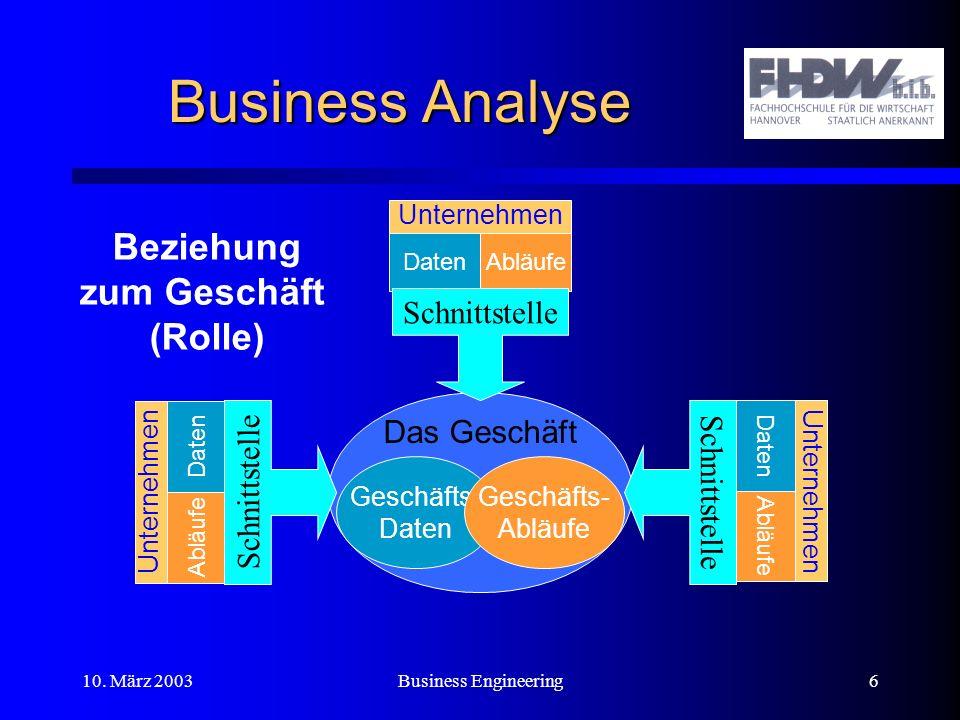 Business Analyse Beziehung zum Geschäft (Rolle) Schnittstelle