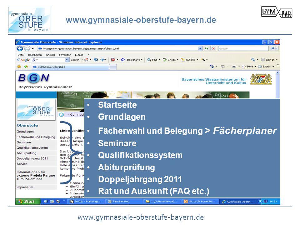 www.gymnasiale-oberstufe-bayern.de Startseite. Grundlagen. Fächerwahl und Belegung > Fächerplaner.