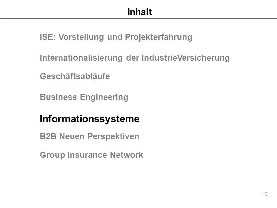 Informationssysteme Inhalt ISE: Vorstellung und Projekterfahrung