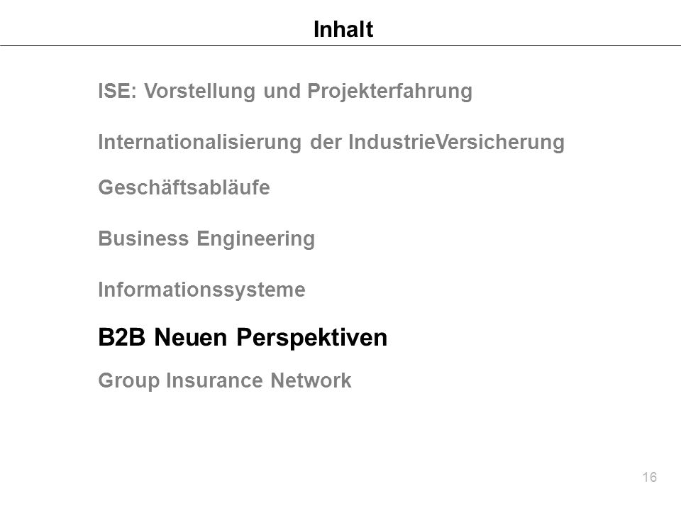 B2B Neuen Perspektiven Inhalt ISE: Vorstellung und Projekterfahrung