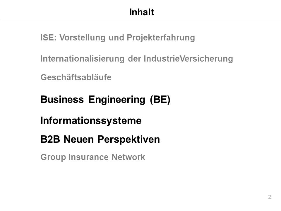 Business Engineering (BE)