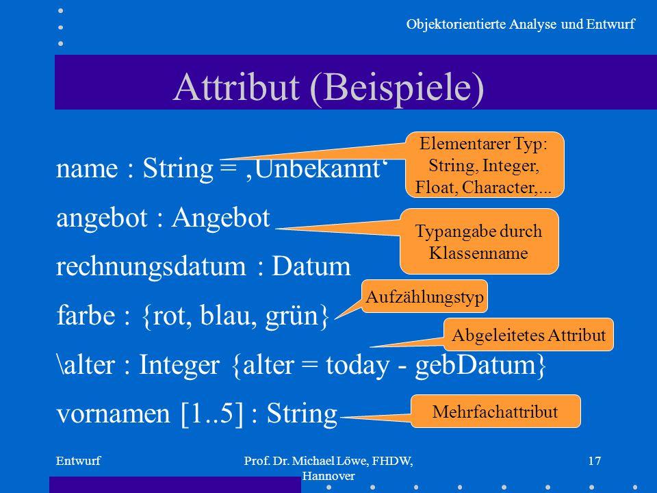 Attribut (Beispiele) name : String = 'Unbekannt' angebot : Angebot